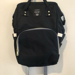 LEQUEEN Backpack Navy Blue Insulated Diaper Bag
